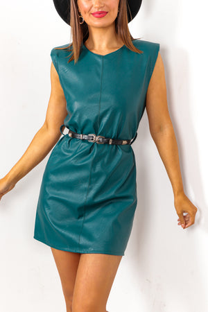I Could Leather Be Your Woman - Teal Leather Mini Dress With Belt