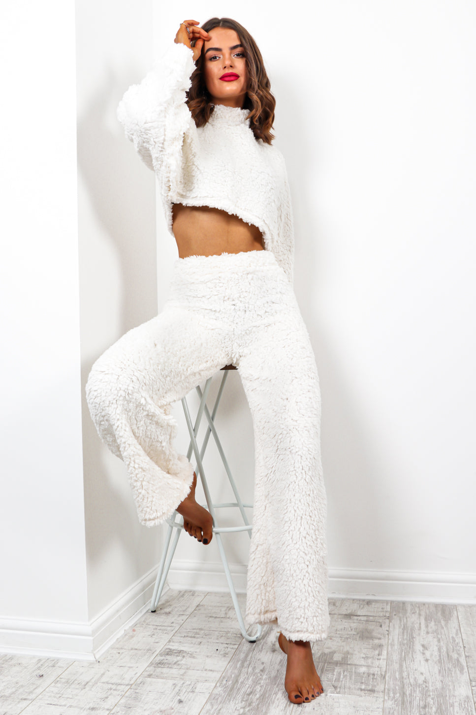 I Fluff You - White Teddy Fur Co-ord