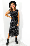 I Kid You Spot - Black White Padded Shoulder Midi Dress