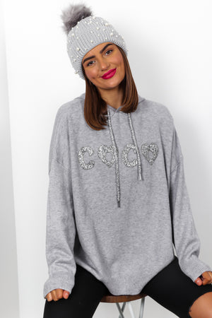 I Love Coco - Grey Rhinestone Jumper