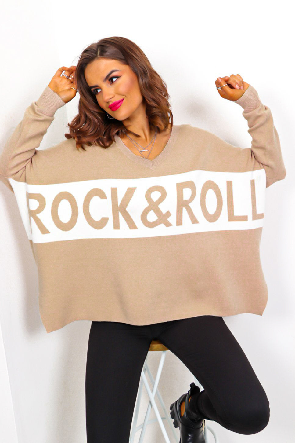 I Love Rock 'n' Roll - Beige White Knitted Jumper