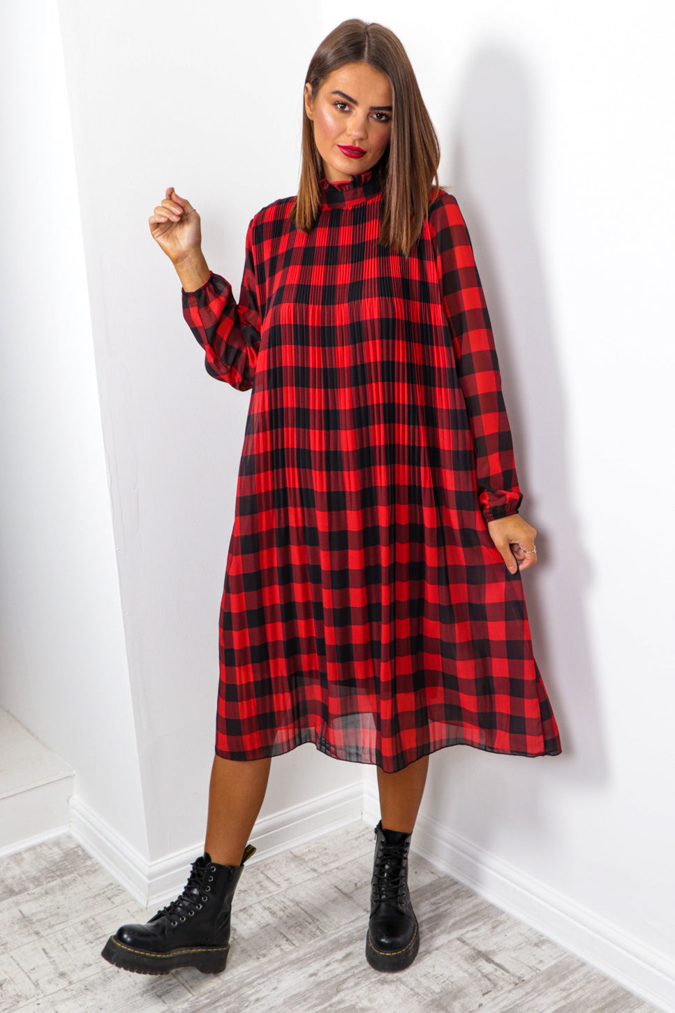 Feeling Feisty - Red Black Check Print Pleated Midi Dress