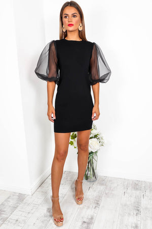 Right Sheer Right Now - Mini Dress In BLACK