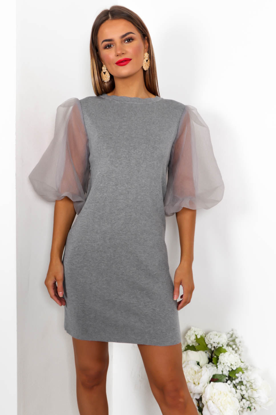 Right Sheer Right Now - Mini Dress In GREY