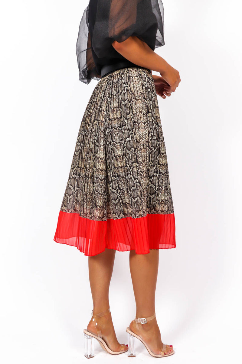 One Day At A Line - Midi Skirt In SNAKE/RED