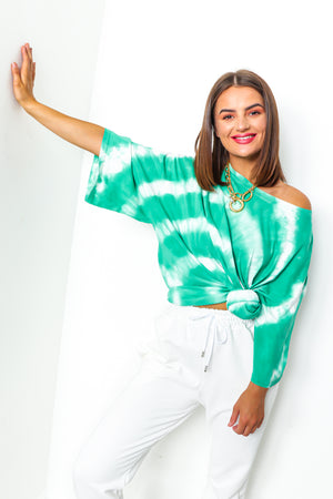Green tie dye t-shirt dress
