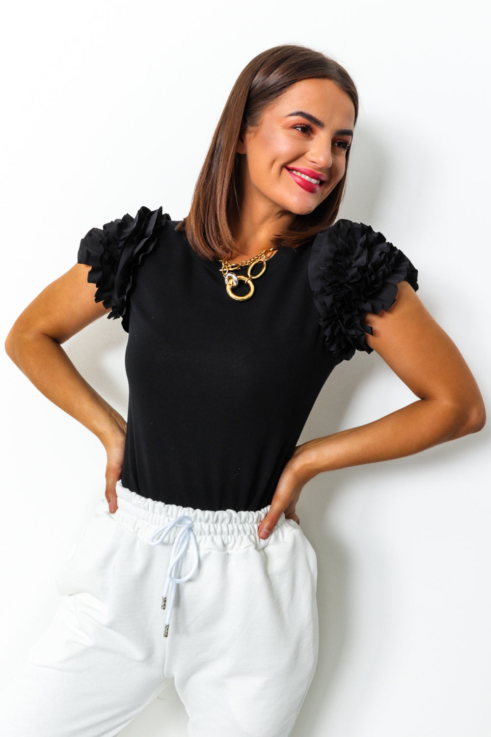 Black ruffle sleeve t-shirt