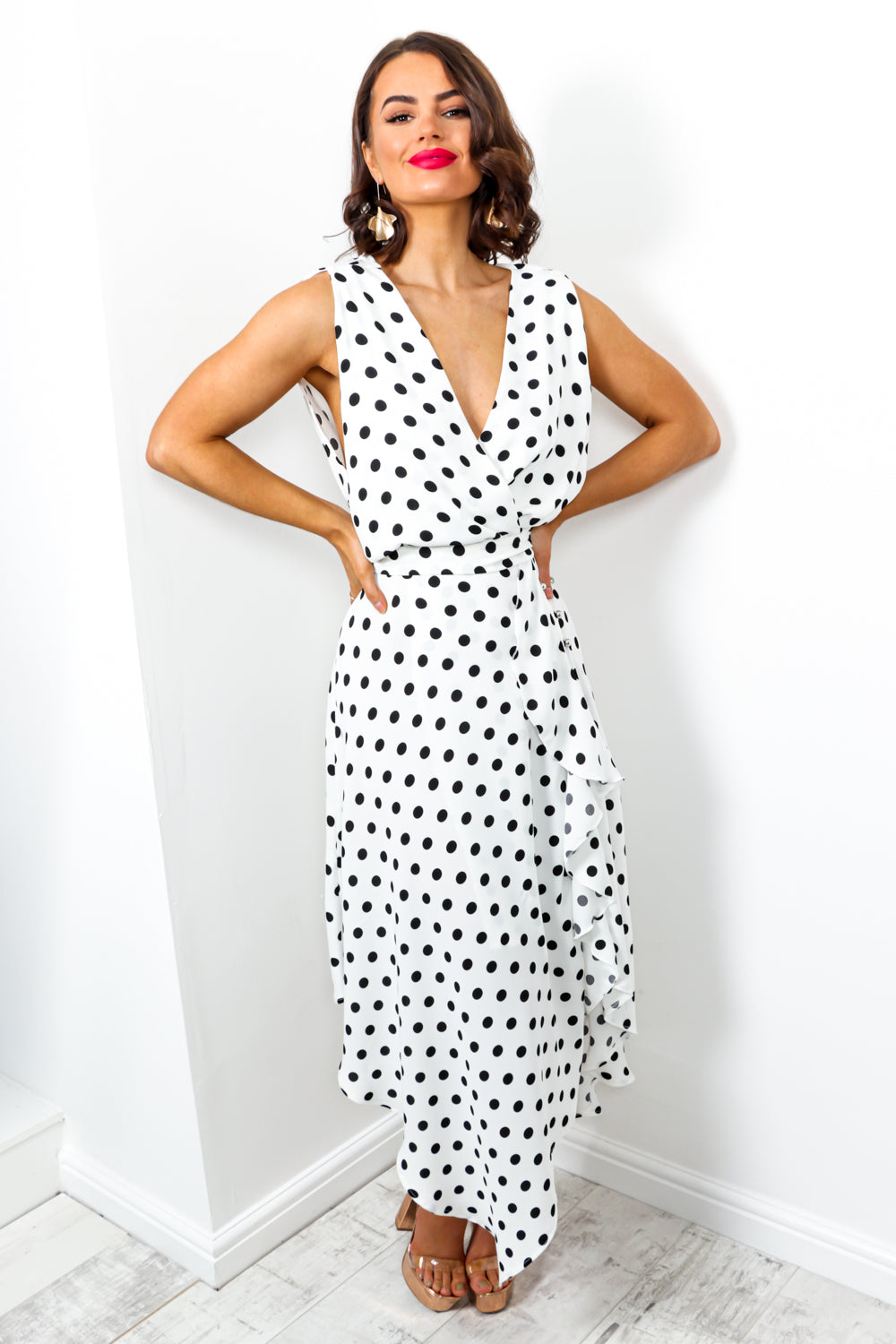 Deep In Love - Dress In WHITE/POLKA-DOT