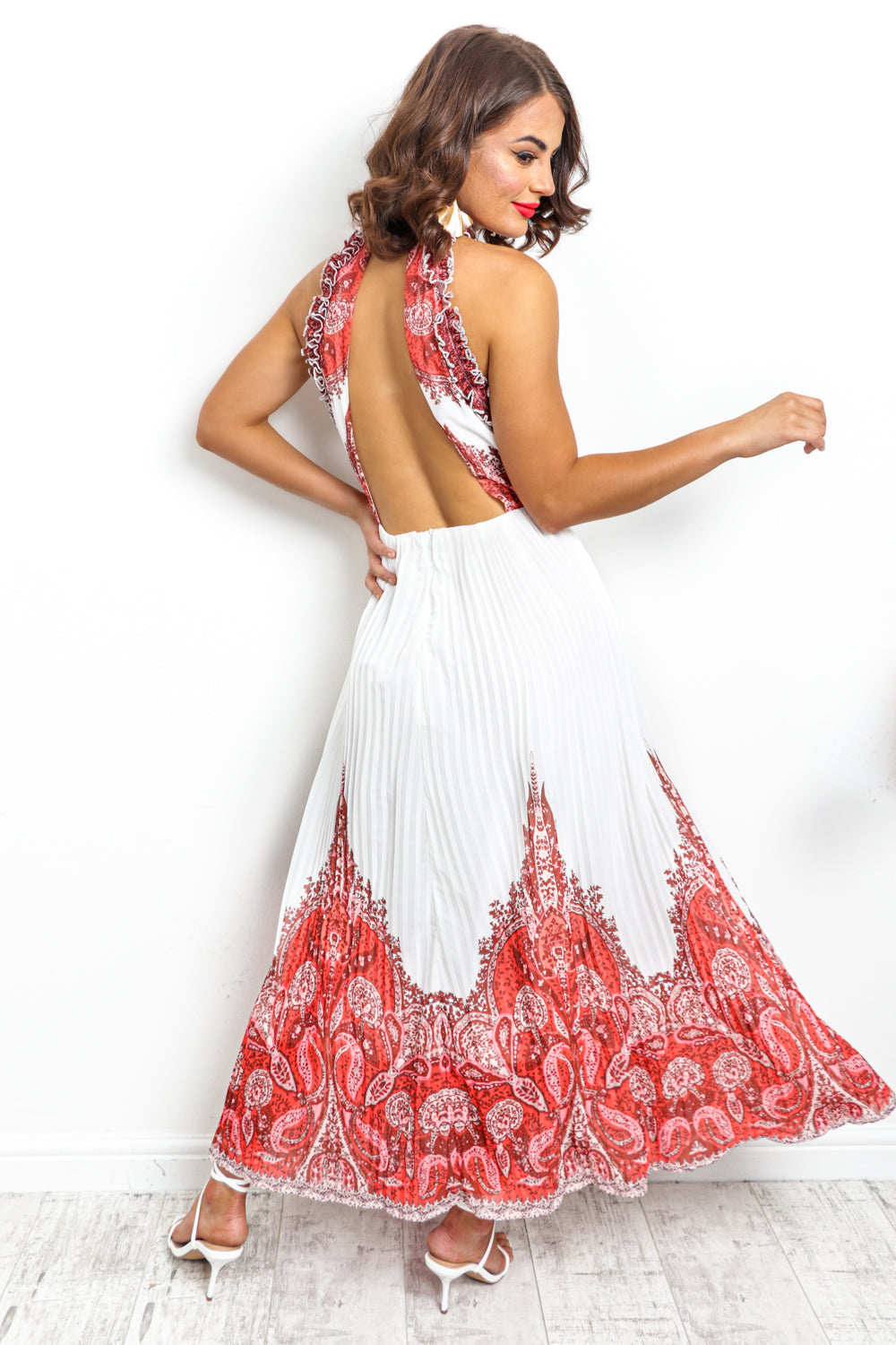 Meet Me At The Halter - Dress In WHITE/RED