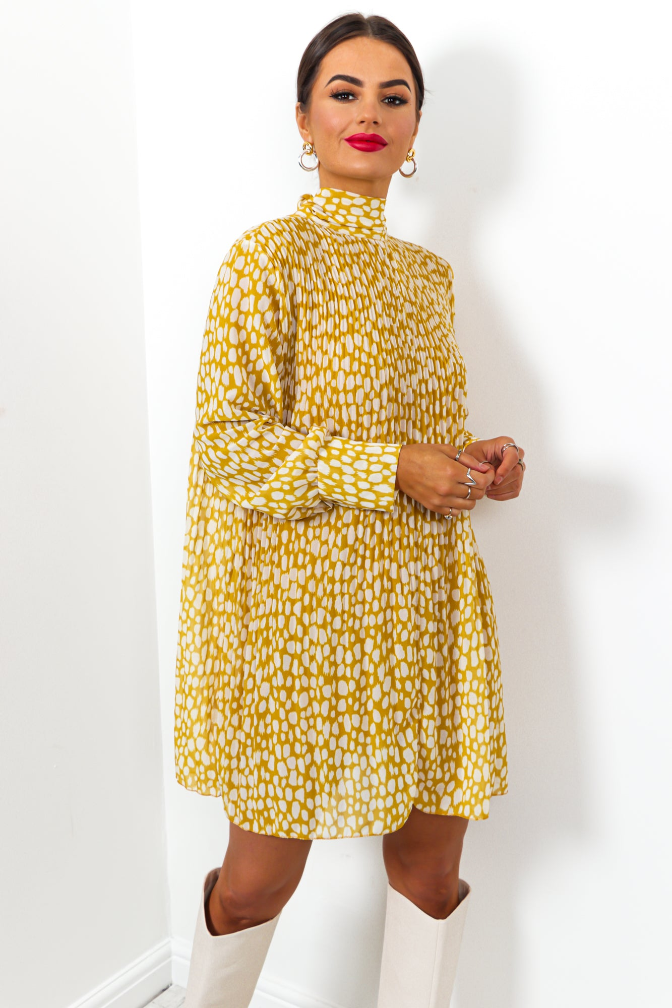 Pleat Treats - Dress In MUSTARD