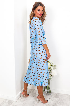 Ruffle Me Up - Dress In BLUE/CHEETAH