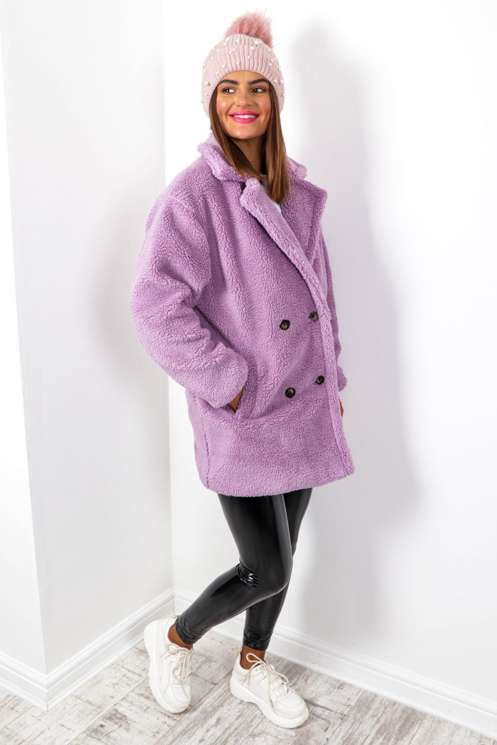 Fleece Of Mind - Lilac Double Breasted Coat