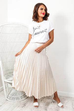 Uptown Girl - Skirt In CHAMPAGNE