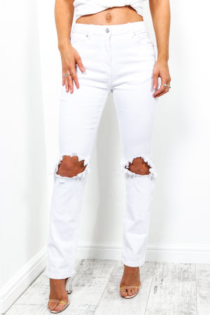Too Blessed To Be Distressed - Jeans In WHITE