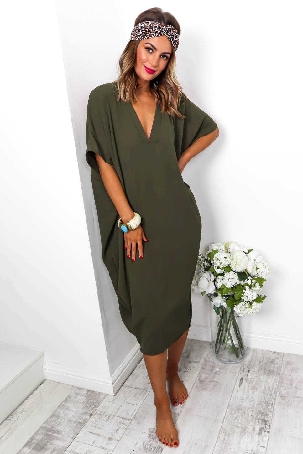 Beach To Their Own - Midi Dress In KHAKI