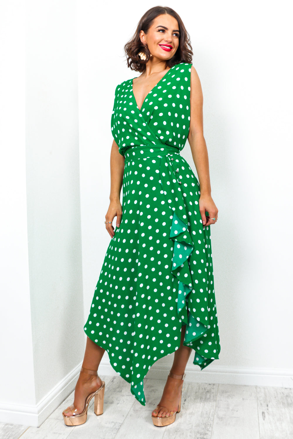 Deep In Love - Dress In GREEN/POLKA-DOT