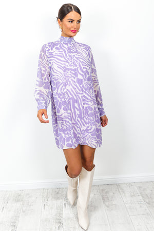 Pleat Treats - Dress In PURPLE/ZEBRA