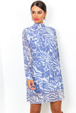 Pleat Treats - Dress In BLUE/ZEBRA