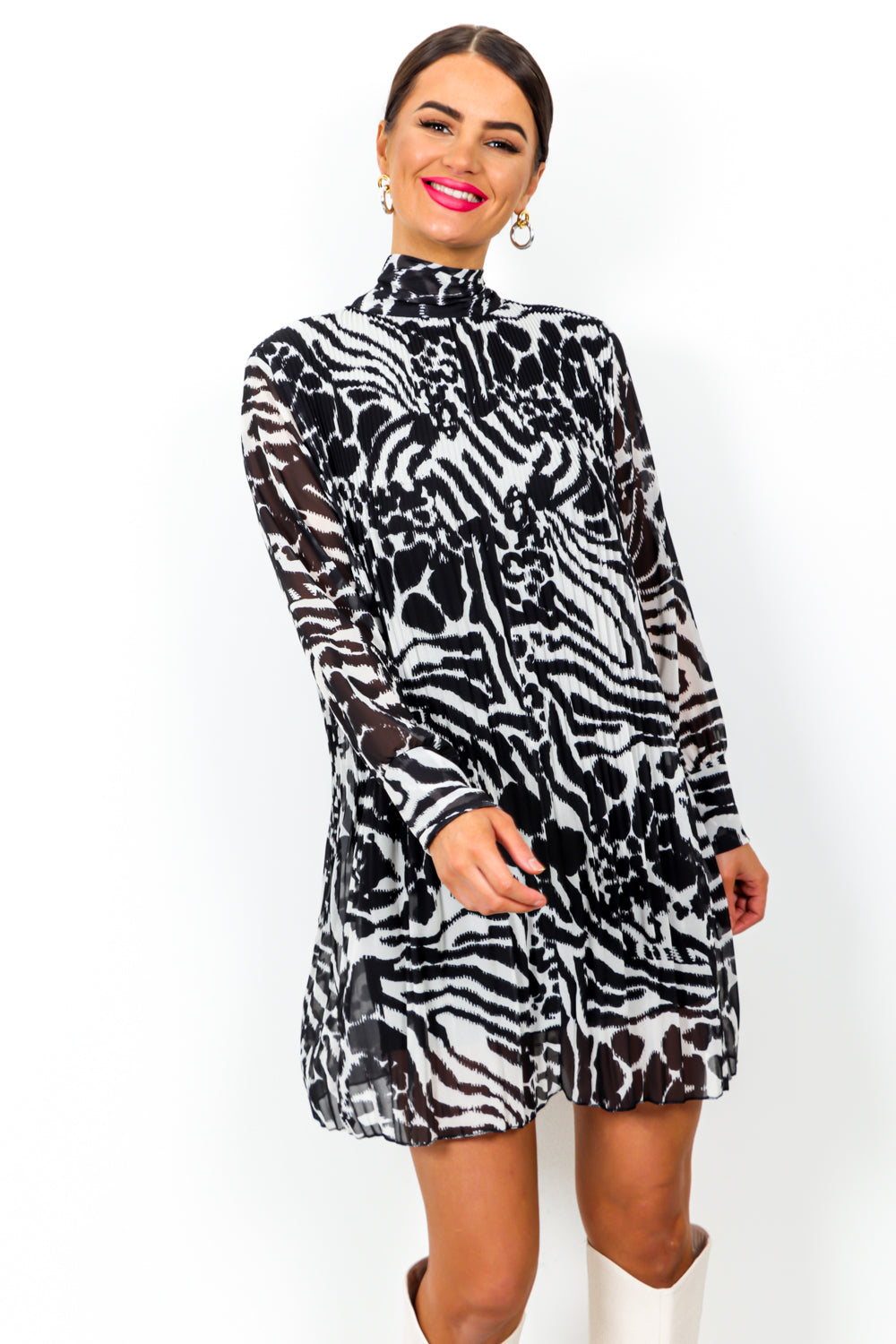Pleat Treats - Dress In BLACK/ZEBRA