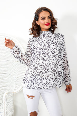 Race To The Top - Blouse In BLACK/LEOPARD