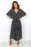 Timeless - Maxi Dress In BLACK/POLKA-DOT