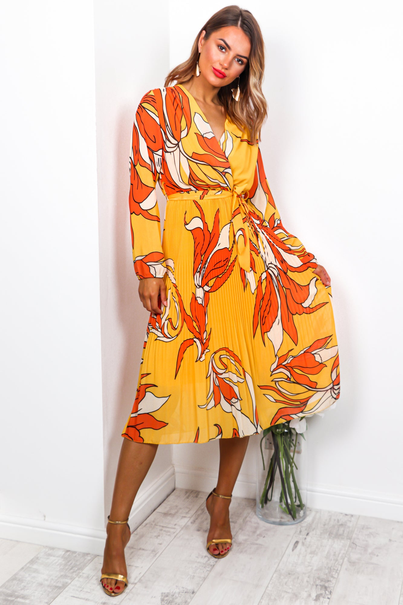 Flower Of Love - Midi Dress  In ORANGE