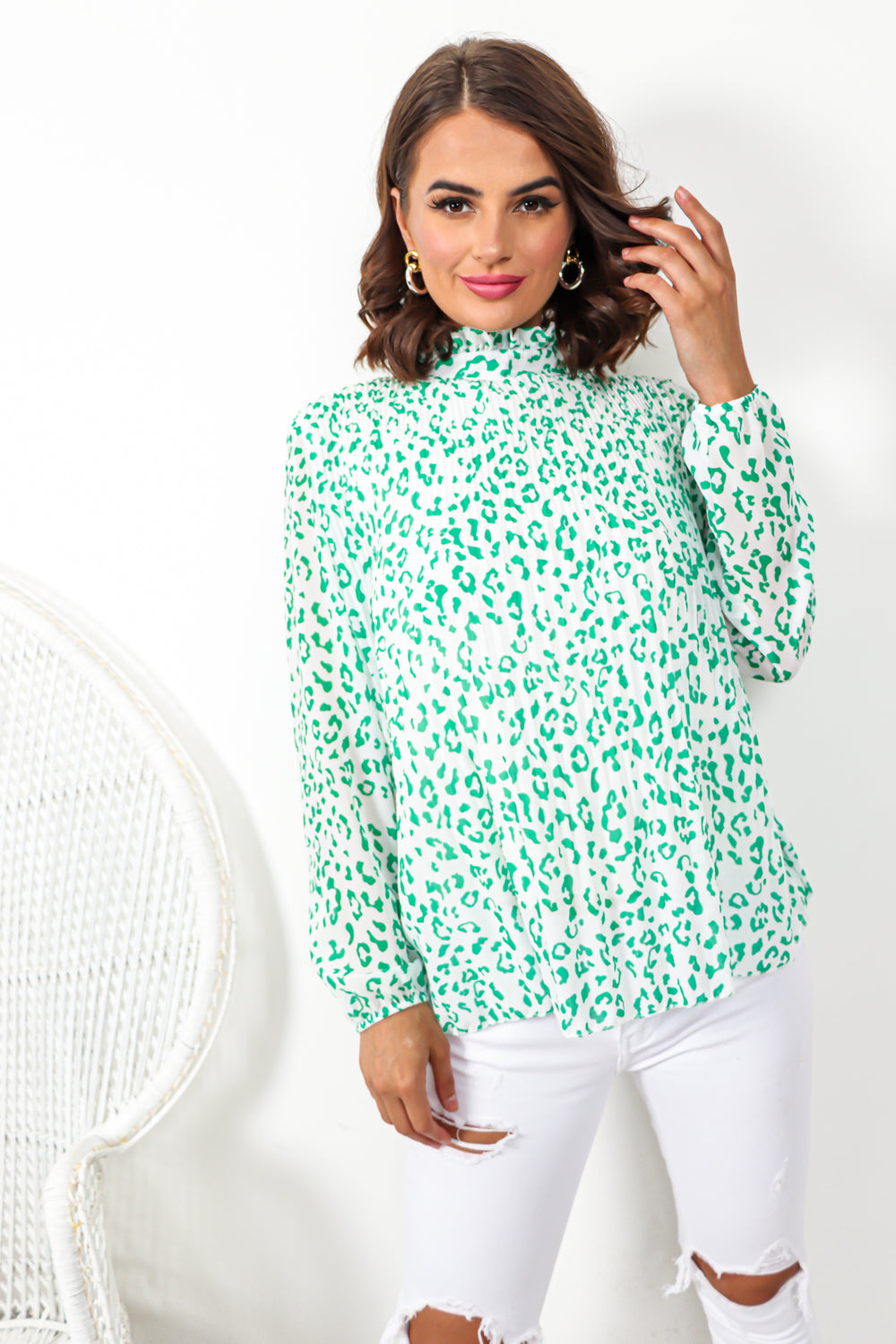 Race To The Top - Blouse In GREEN/LEOPARD
