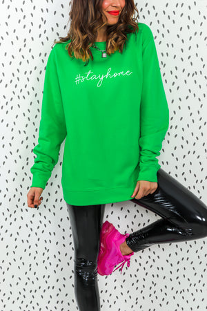 Stay Home - Oversized Jumper In GREEN