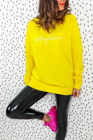 Stay Home - Oversized Jumper In YELLOW