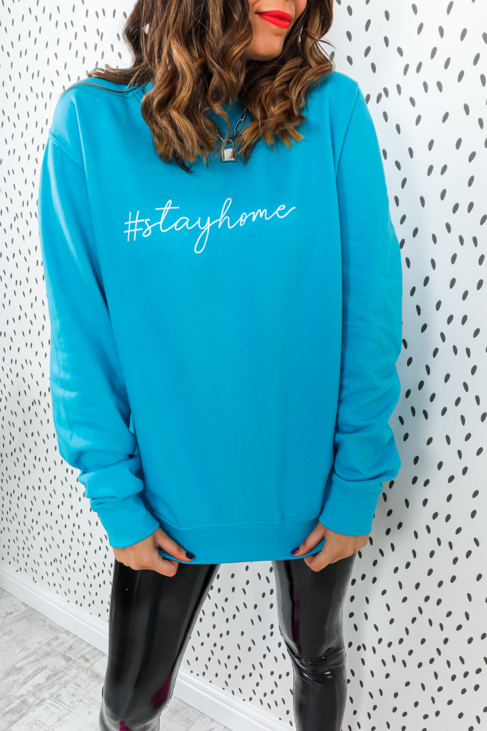 Stay Home - Oversized Jumper In TURQUOISE/BLUE