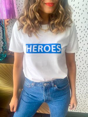 Heroes - T-shirt In WHITE/BLUE