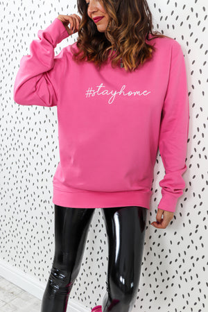 Stay Home - Oversized Jumper In PINK