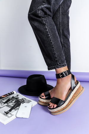 Buckle Down - Sandals In BLACK