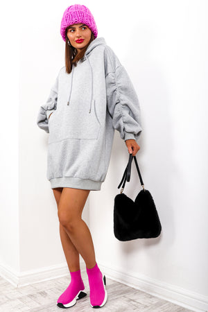 Fools Ruche In - Grey Hoodie Dress