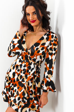 To Tie For - Wrap Dress In RUST/LEOPARD