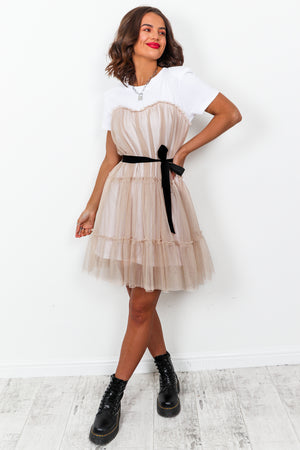 Childhood Sweetheart - T-shirt Dress In NUDE
