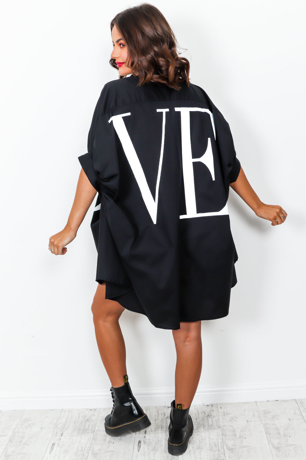Spread The Love - Shirt Dress In BLACK