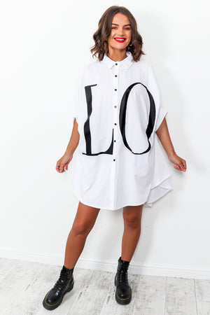 Spread The Love - Shirt Dress In WHITE