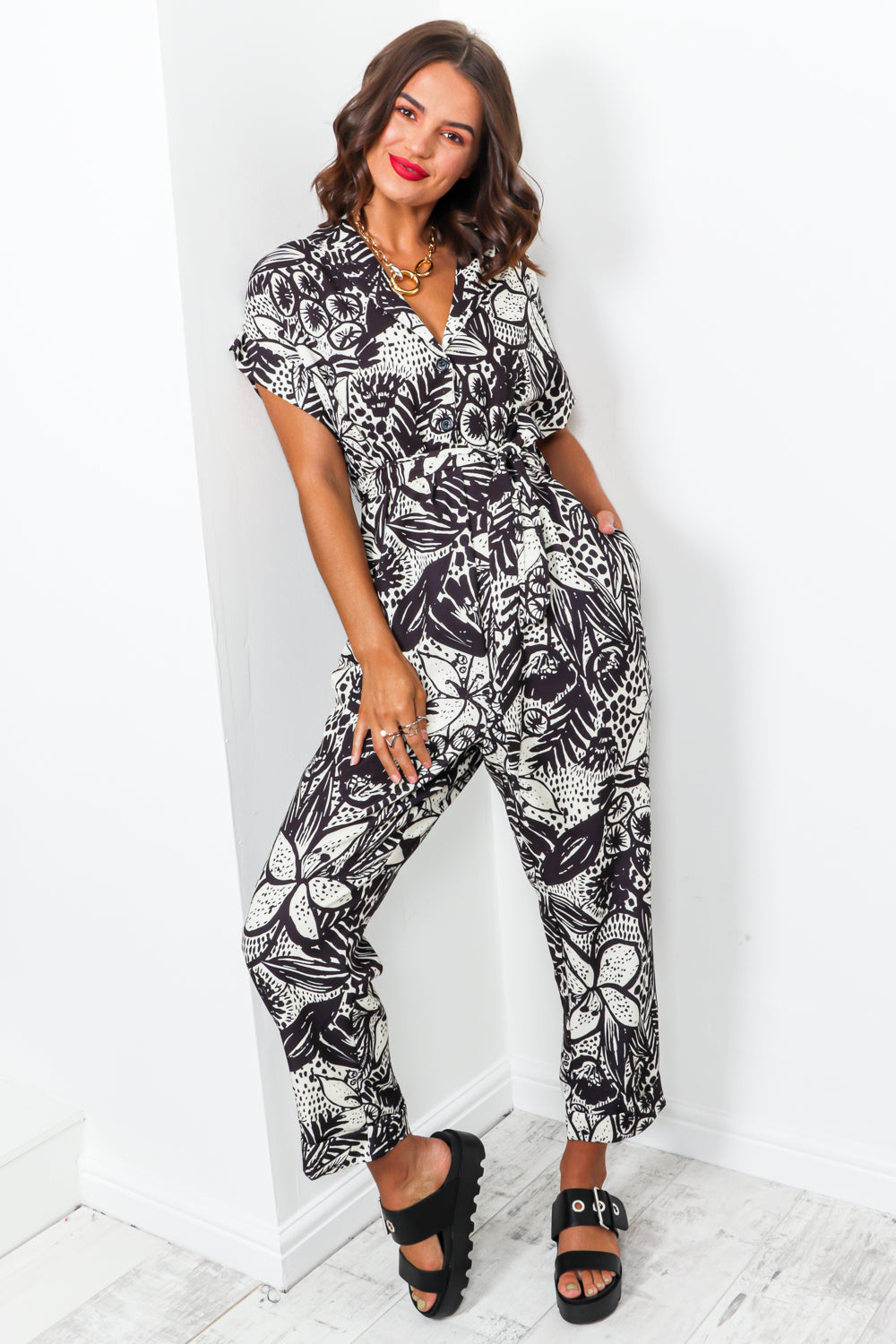 Time To Flourish - Jumpsuit In BLACK
