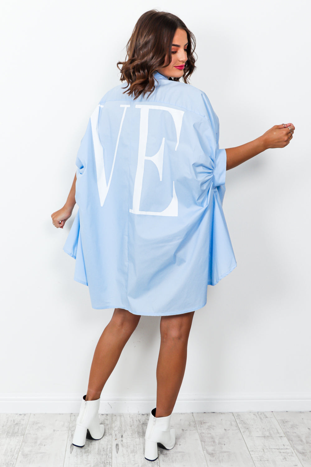 Spread The Love - Shirt Dress In BLUE