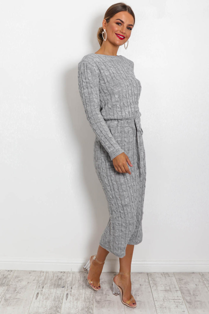Knit's Complicated - Dress In GREY