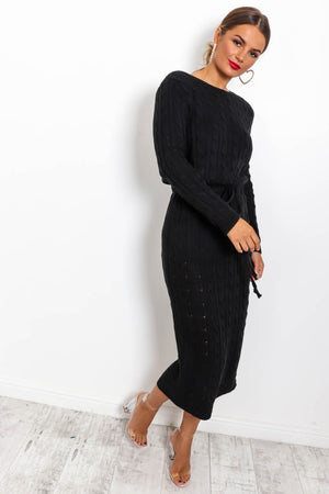 Knit's Complicated - Dress In BLACK