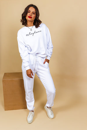 Stay Home - Tracksuit In WHITE
