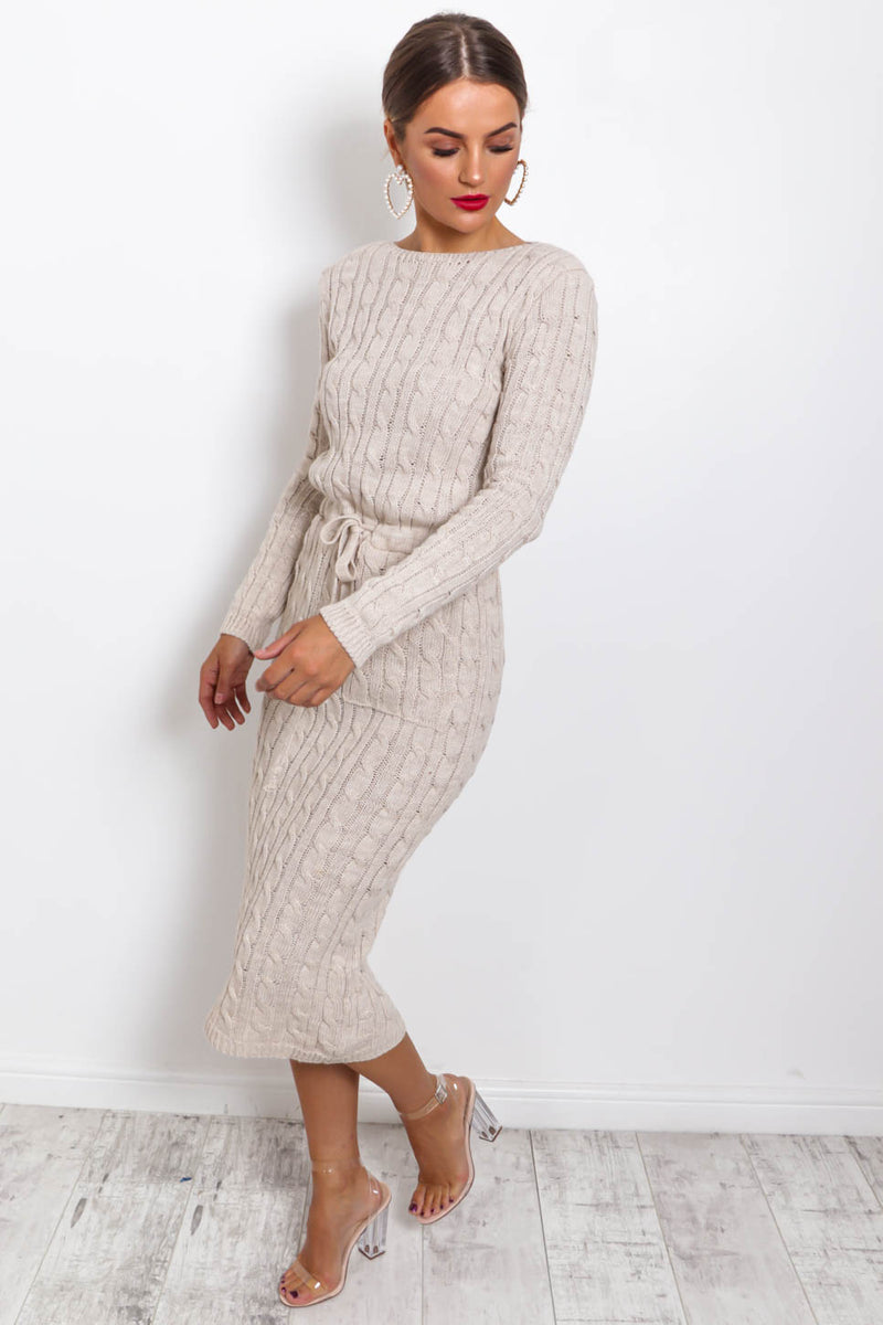 Knit's Complicated - Dress In OATMEAL