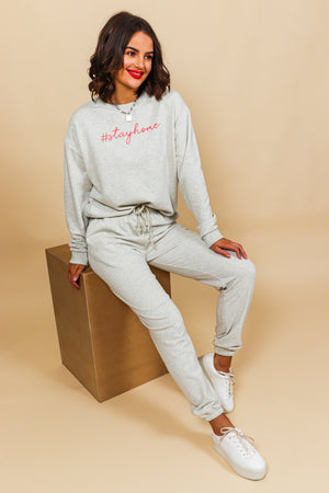 Stay Home - Tracksuit In GREY/PINK