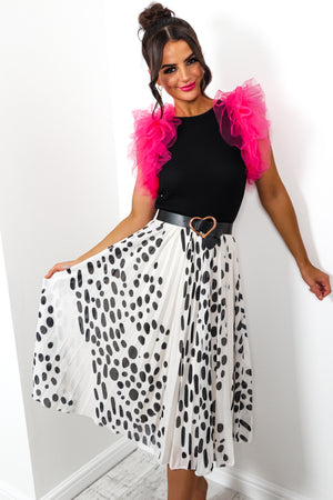 Still Dot It - Skirt In WHITE/BLACK