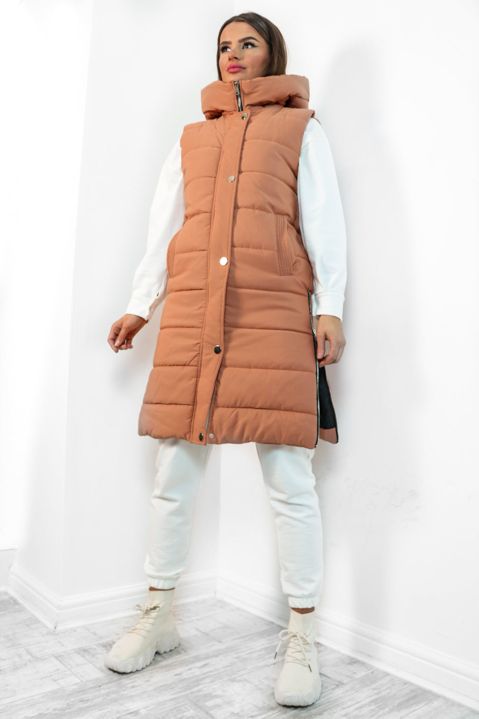 Warm Walks - Terracotta Long Gilet