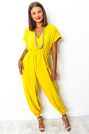 Yellow wide leg jumpsuit