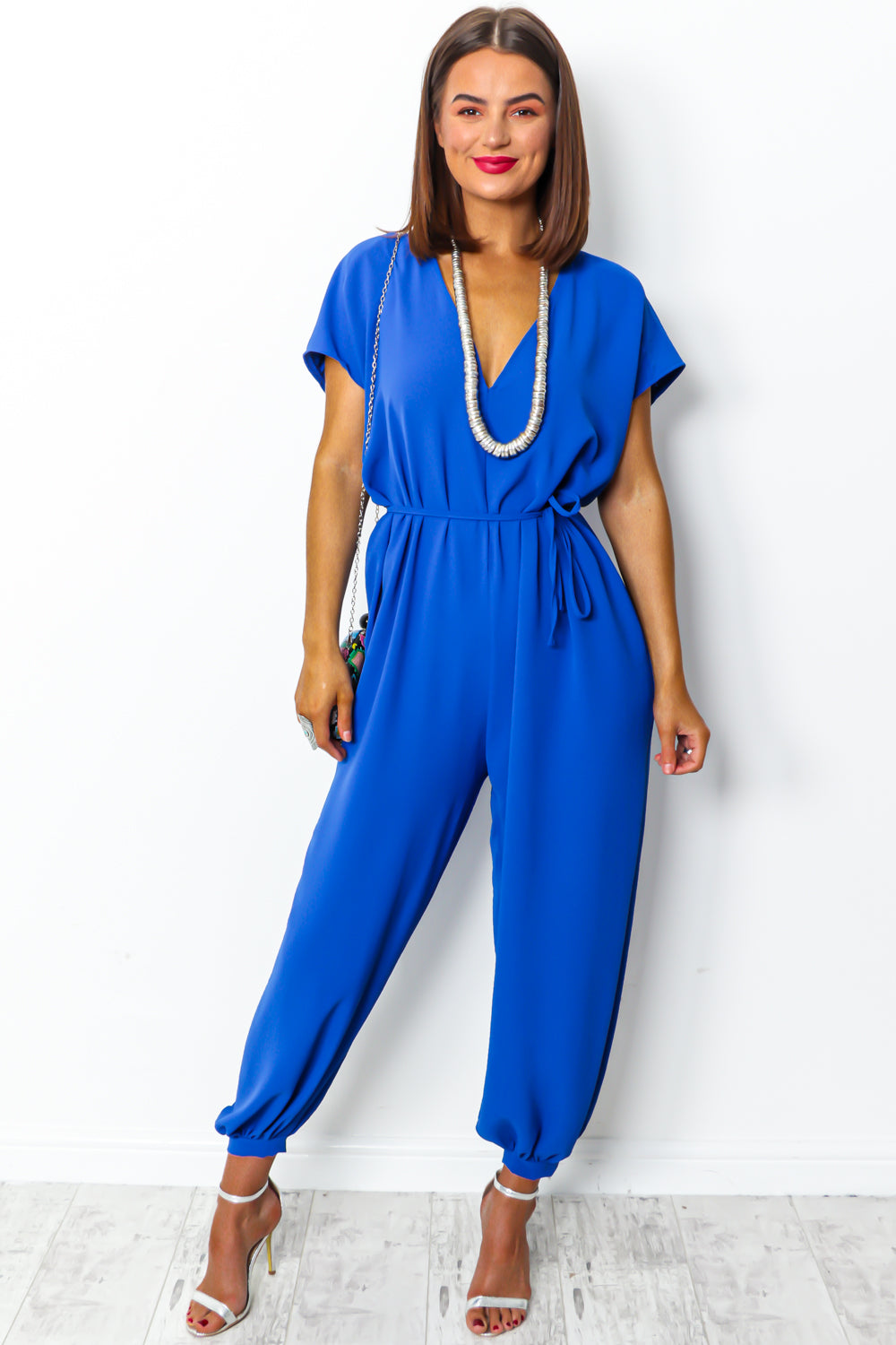 Royal blue wide leg jumpsuit