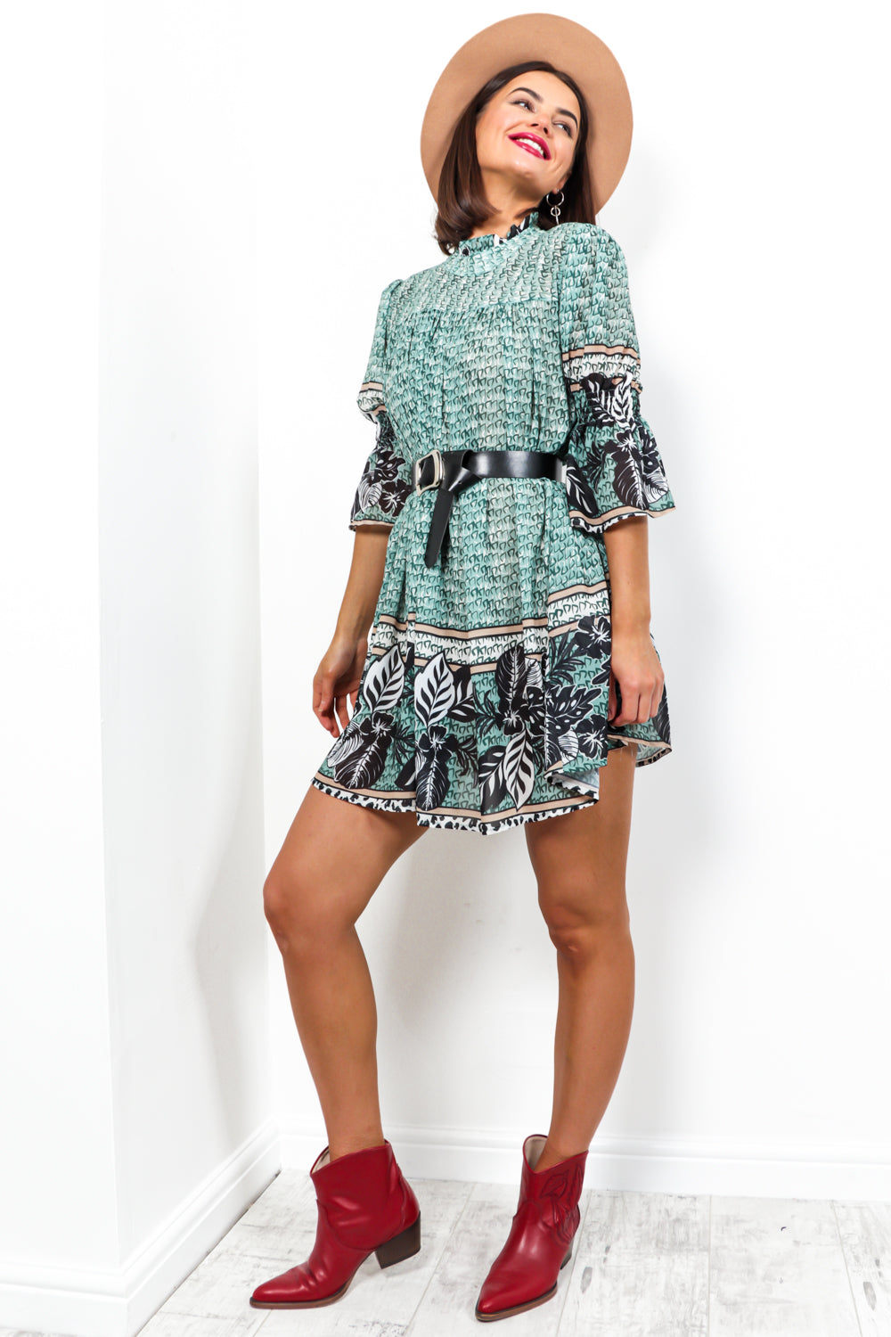 Smock Me Down - Dress In GREEN-PRINT